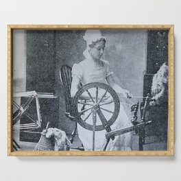 Spinning Wheel 1800s Serving Tray