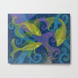 Golden Fishes, Blue &Yellow Metal Print