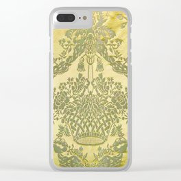 Gold Floral Fabric Clear iPhone Case
