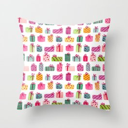 Colorfully Wrapped Christmas Presents Throw Pillow