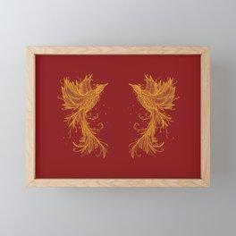 Golden Phoenix Twins Red Framed Mini Art Print