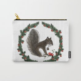 Grey Squirrel in Holiday Wreath Carry-All Pouch