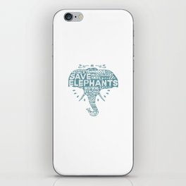 Save Elephants - Word Cloud Silhouette iPhone Skin