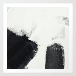 brush stroke black white painted II Art Print