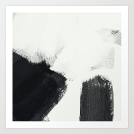 brush stroke black white painted II Art Print