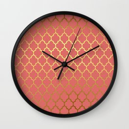 Rose Gold Quatrefoil Wall Clock