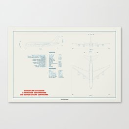 Airbus A380 plane technical drawing Canvas Print