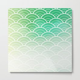Green Ombre Japanese Waves Pattern Metal Print