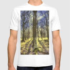 Peaceful Forest Van Gogh White Mens Fitted Tee MEDIUM