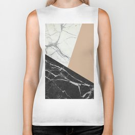 Black and White Marble with Pantone Hazelnut Biker Tank