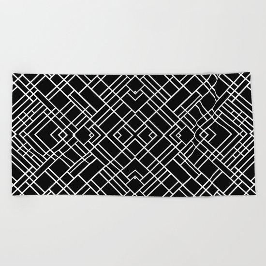 Map Outline 45 R Black Beach Towel