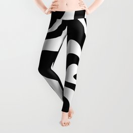 Liquid Swirl Abstract Pattern in Black and White Leggings