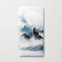Winter Wolves, Wildlife Wolf Wild Dogs, Snow Full Moon Animals Photography Love Digital Art Metal Print