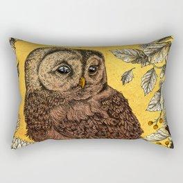 Tawny Owl Yellow Rectangular Pillow