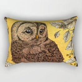 Tawny Owl Yellow Rectangular Pillow