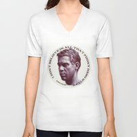 steve mcqueen V-neck T-shirts featuring Steve McQueen by RSassi