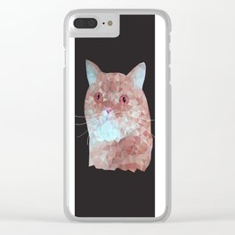 Low poly red cat 1 Clear iPhone Case