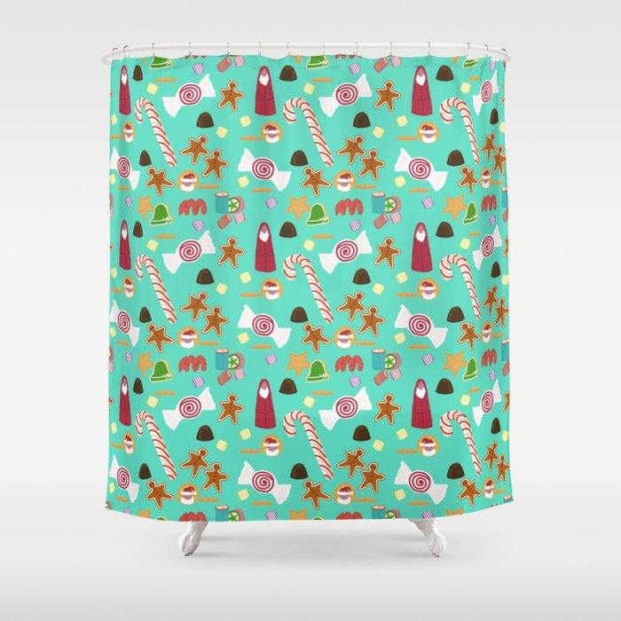 Christmas Sweeties Candies Peppermints Candy Canes And Chocolates On Aqua Shower Curtain