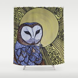 Barn Owl Art Nouveau Panel in yellow Shower Curtain