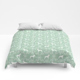 Great Dane floral silhouette dog breed pattern minimal simple mint and white great danes silhouettes Comforters