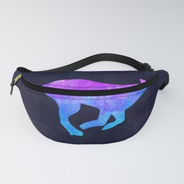 DOG RUNNING IN SPACE // Animal Graphic Art // Watercolor Canvas Painting // Modern Minimal Cute Fanny Pack