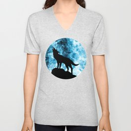 Howling Winter Wolf snowy blue smoke Unisex V-Neck