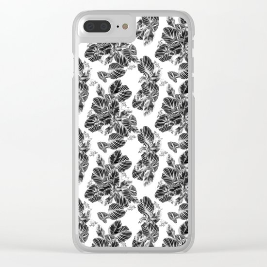 Black and white floral pattern Clear iPhone Case