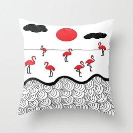 Red flamingos Throw Pillow
