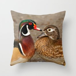 A Touching Moment Between Wood Duck Lovebirds Throw Pillow