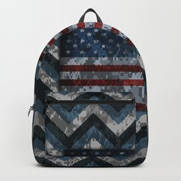 Blue Military Digital Camo Pattern with American Flag Backpack