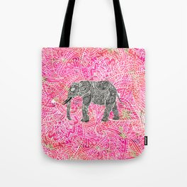 Pink Safari   Tribal Paisley Elephant Henna Pattern Tote Bag