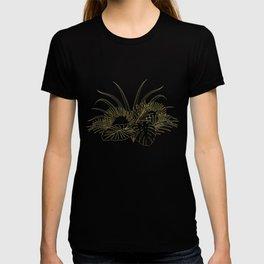 Elegant tropical leaves golden strokes design T-shirt