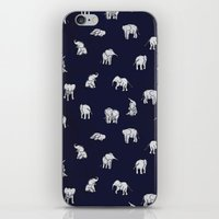 baby iPhone & iPod Skins featuring Indian Baby Elephants in Navy by Estelle F