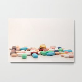 Numerous medicines Medications in the form of tablets. Colored pills on a white background. Metal Print