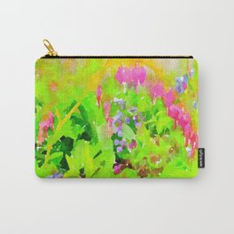 Abstract Spring Flowers Bleeding Hearts and Virginia Bluebells Carry-All Pouch