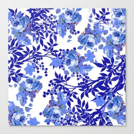 BLUE AND WHITE ROSE LEAF TOILE PATTERN Canvas Print