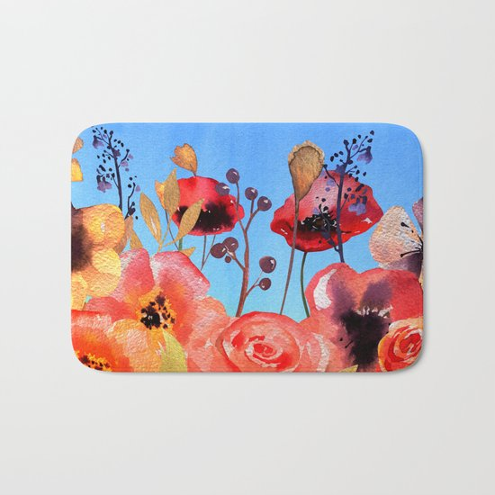 Summer meadow with Flowers and Poppies  in Twilight on #Society6 Bath Mat