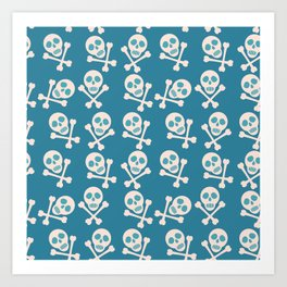 Blue seamless background. Skull and bones. Pirates. Art Print
