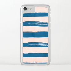 Trendy Stripes - Sweet Peach Coral on Saltwater Taffy Teal Clear iPhone Case