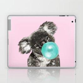 Playful Koala Bear with Bubble Gum in Pink Laptop & iPad Skin