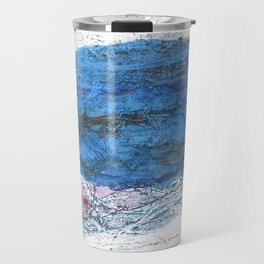 Steel blue colored wash drawing texture Travel Mug