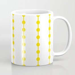 Geometric Droplets Pattern Linked - Summer Sunshine Yellow on White Coffee Mug