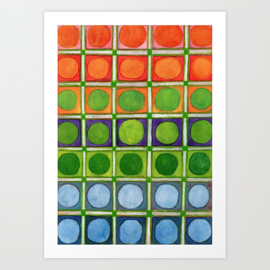 Beautiful Rainbow Colored Circles in a Grid Art Print