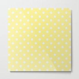 Pastel Polka Dot Yellow & White Pattern Metal Print