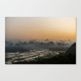 Sunset over Chinese fields Canvas Print