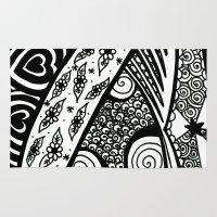 zentangle Area & Throw Rugs featuring Zentangle by Wealie