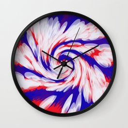 USA Red White Blue swirl Wall Clock