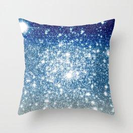 Galaxy Sparkle Stars Deep Blue Silver Ombre Throw Pillow