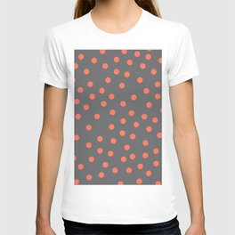 Simply Dots Deep Coral on Storm Gray T-shirt