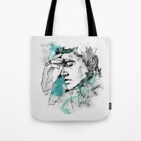 dean winchester Tote Bags featuring Dean Winchester | Skin by lostinroadsuntravelled